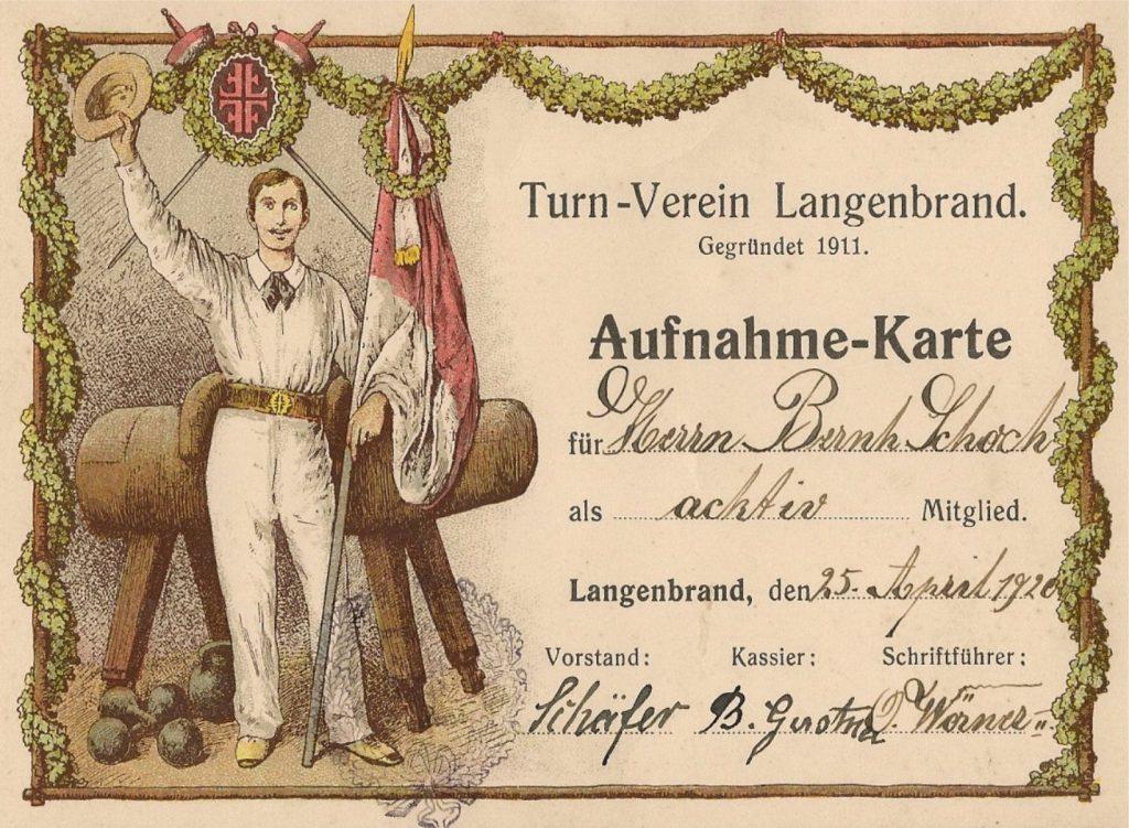 Mitgliedsausweis aus dem Jahr 1920