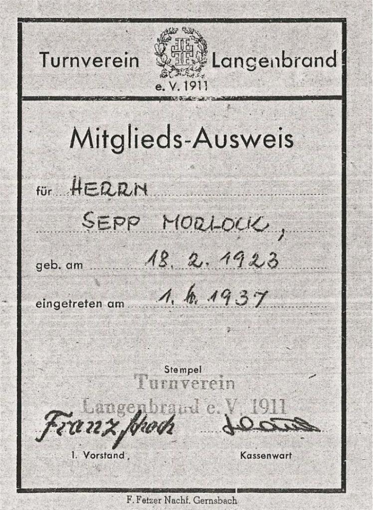 Mitgliedsausweis aus dem Jahr 1937